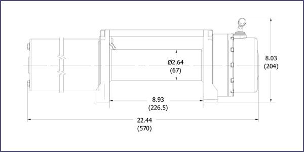 Схема размеров лебёдки Rock RS9500